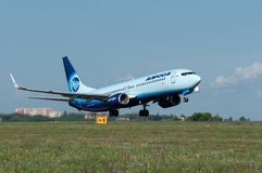 Takeoff of the aircraft Boeing-737, Rostov-on-Don, Russia, 15th of June 2015. Official spotting Royalty Free Stock Image