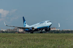 Takeoff of the aircraft Boeing-737, Rostov-on-Don, Russia, 15th of June 2015. Official spotting royalty free stock photos