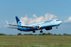 Takeoff of the aircraft Boeing-737, Rostov-on-Don, Russia, 15th of June 2015. Official spotting stock photo