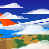 Takeoff of the airplane. Takeoff of the plane. Sky with clouds and the ground below the airplane Royalty Free Stock Photography