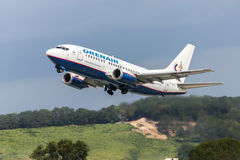 Takeoff of Boeing-737. Aircraft of OrenAir company, Sochi, Russia, August 22, 2011 royalty free stock photo