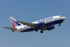 Takeoff Boeing-737 of Transaero Airline. S, Rostov-on-Don, Russia, June 1, 2011 Royalty Free Stock Photography