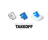 Takeoff icon in different style. Takeoff icon, vector symbol in flat, outline and isometric style Stock Photos