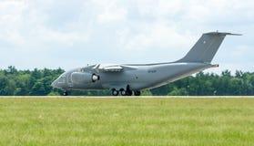 Takeoff a military transport aircraft Antonov An-178. Stock Photo