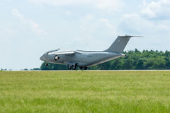 Takeoff a military transport aircraft Antonov An-178. Stock Images