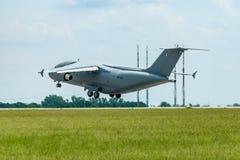 Takeoff a military transport aircraft Antonov An-178. Royalty Free Stock Image