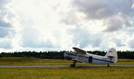 Takeoff of the old Russian plane Stock Images