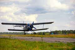 Takeoff of the old Russian plane Royalty Free Stock Images