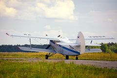 Takeoff of the old Russian plane Royalty Free Stock Image