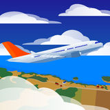 Takeoff of the plane. Takeoff of the airplane. Sky with clouds and the landscape below the plane Royalty Free Stock Photos