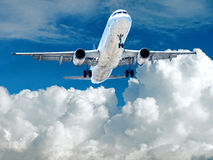 Takeoff plane in airport Stock Photos