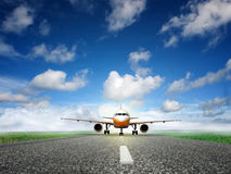 Takeoff plane in airport. Plane is landing away from airport Royalty Free Stock Photos
