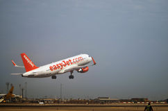 Takeoff of a plane of low cost airline Stock Image