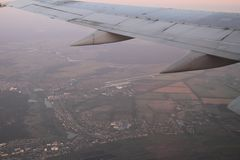 Takeoff strip of Gostomel airport from the airplane window, Gostomel, Ukraine, 09 08 2017.  Stock Photo
