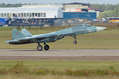 Takeoff Sukhoi PAK FA T-50. ZHUKOVSKY, MOSCOW REGION, RUSSIA - AUG 27, 2015: Takeoff Sukhoi PAK FA T-50 (Prospective Airborne Complex of Frontline Aviation) Stock Images