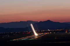 Takeoff at sunset. From Alicante airport, made with long exposure royalty free stock photo