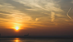Takeoff in to the sun. Morning view takeoff Royalty Free Stock Photos