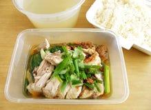 Takeout étnico asiático - arroz da galinha Fotografia de Stock