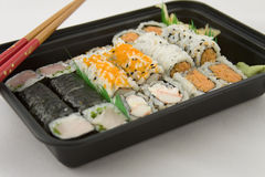 Takeout Sushi. Dinner -  tray Royalty Free Stock Images