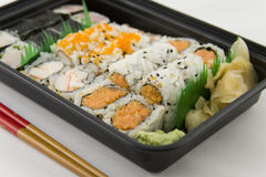 Takeout Sushi. Dinner -  tray Royalty Free Stock Photos