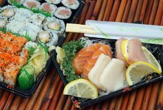 Takeout Sushi and Sashimi Stock Photo