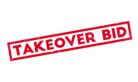 Takeover Bid rubber stamp. Grunge design with dust scratches. Effects can be easily removed for a clean, crisp look. Color is easily changed Royalty Free Stock Images