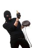 takes för pengar för handväska lycklig stal rånare Arkivfoto