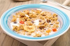 Takes perspective plate with milk and breakfast cereals Royalty Free Stock Photos