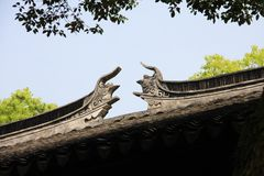 Taket av den kinesiska buddistiska templet som bulding i Suzhou Kina i 2 Royaltyfri Fotografi