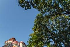 Taket av huset med trevliga fönster under den blåa himlen Royaltyfria Bilder