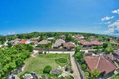 Taketomi by, panoramautsikt royaltyfri fotografi