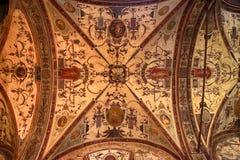 takfreskomålning i Palazzoen Vecchio, Florence, Italien Arkivbilder