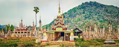 Takhaung Mwetaw Paya in Sankar. Myanmar. Panorama Royalty Free Stock Photo