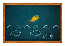 Taking advantage. Golden fish jumping from the water and taking advantage, drawing on a green chalkboard Royalty Free Stock Image
