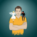Taking advise from angel and devil Royalty Free Stock Photography