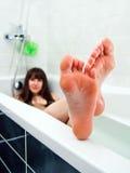 Taking a bath Royalty Free Stock Photos