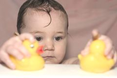 Taking a Bath 4. Little girl taking a bath with her rubber ducky, playing stock photography