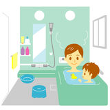 Taking a bath, father and son Royalty Free Stock Photo