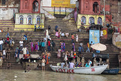 Taking Bath at the Ganges Stock Photos