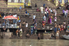Taking Bath at the Ganges Stock Photography