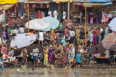 Taking Bath at the Ganges Stock Images