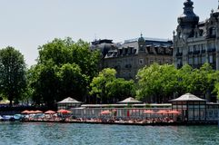 Taking a bath in the Limmat River in the middle of the City of Zürich at the women bath royalty free stock photography