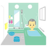 Taking a bath, old man Stock Photography