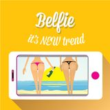 Taking Belfie Photo on Smart Phone Royalty Free Stock Photo