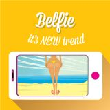 Taking Belfie Photo on Smart Phone Stock Photography
