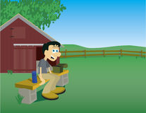 Taking A Break. Illustration of a man taking a break from his chores on a farm Stock Image