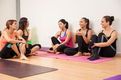 Taking a break from yoga class Royalty Free Stock Photos