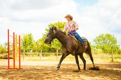 Cowgirl in western hat doing horse jumping. Taking care of animals, horsemanship, western competitions concept. Cowgirl in cowboy hat doing horse jumping through royalty free stock photos