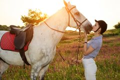 Jockey young girl petting and hugging white horse in evening sunset. Taking care of animals, love and friendship concept. Jockey young girl petting and hugging royalty free stock photo