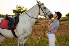 Jockey young girl petting and hugging white horse in evening sunset. Taking care of animals, love and friendship concept. Jockey young girl petting and hugging royalty free stock photos